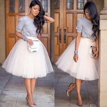 New Women Girls Skirts Tulle Ballet Women Girl Circle A Line Flare Gauze Tutu Skirt