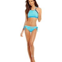 Next by Athena Barre to Beach High-Neck Stripe Swim Top & Tubular Tunnel-Tie Hipster Bottom | Dillards