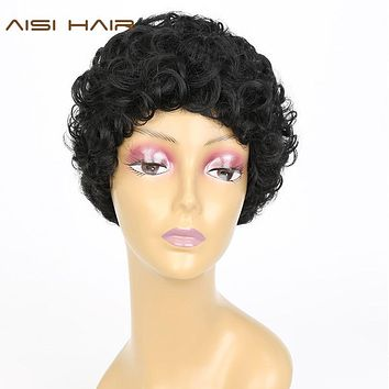 AISI HAIR Synthetic Short Pixie Cut Wigs for Black Women Curly Hair With Bangs Hairstyle