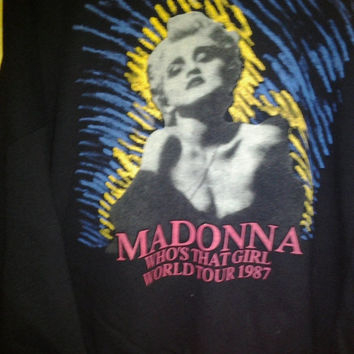 Hot Sales,Clearance stock Vintage Madonna WHO's that girl tour 1987sweatshirt rare hip hop