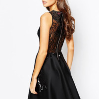 Black Lace Sleeveless Zipper A-Line Dress
