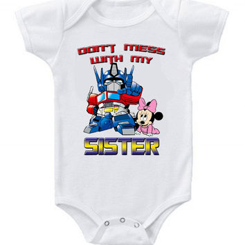 Cute Funny Transformers Baby Minnie Baby Bodysuits One Piece Disney Sister