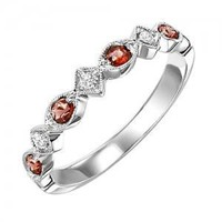 10k white gold diamond and ruby birthstone ring