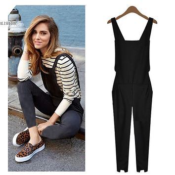2017 Summer Sexy Women Jumpsuits Fashion Elegant Women Sleeveless Jumpsuit Elastic Waist Trouser Jumpsuit Overalls Rompers