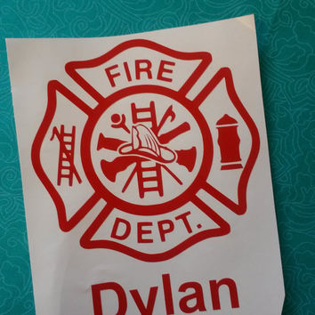 Firefighter badge | Firefighter symbol | Firefighter | Fireman | Firefighter Decal | Window decal | Monogram | Monogrammed | Laptop sticker