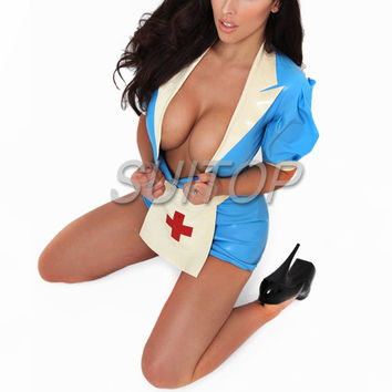 sexy latex uniform nurse dress 100% nature handmade latex  costume SUITOP COSPLAY CUSTOM