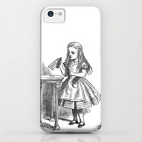 Drink Me vintage Alice in Wonderland emo goth antique book sketch drawing print  iPhone & iPod Case by iGallery