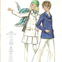 Butterick 5516 Sewing Pattern 1960s 70s Fashion Double Breasted Jacket Coat Pleated Skirt Cuffed Pants Trousers Size 12 Bust 34