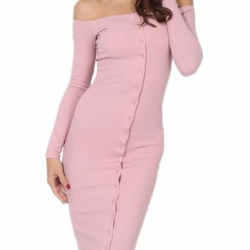 Pink Button Down Bandage Dress