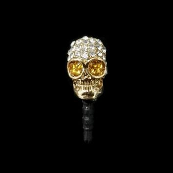 12PCS/lot Rock Fashion Skull Jewelry Accessories Silver/Gold Color Rhinestone Crystal Skeleton Phone Charms Pendants decoration