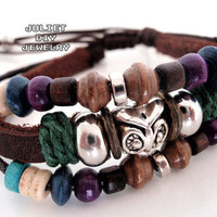 Silver owl charm multi strand leather bracelet from Urban Zen Jewelry Boutique