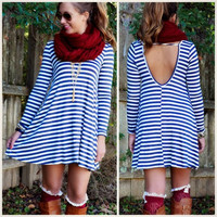Women Long Sleeve O-Neck Backless Casual Stripe Slim A-Line Mini Dress  A_L