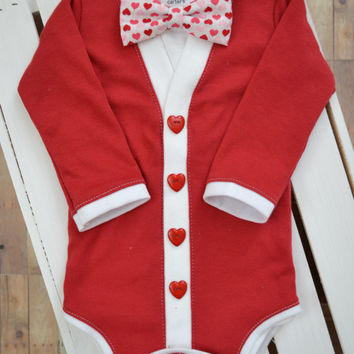 Preppy Baby Cardigan and Bow Tie Set: Solid Red with Interchangeable Tie Shirt and Bow Tie