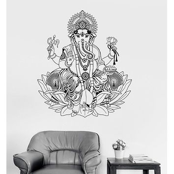 Vinyl Wall Decal Ganesha Lotus Hinduism God Hindu India Decor Stickers Unique Gift (ig3253)