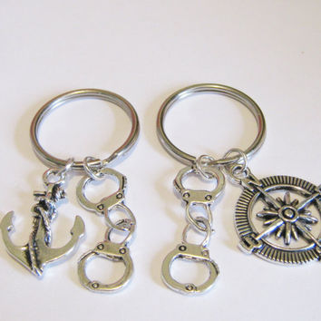 2 Compass And Anchor Partners In Crime Handcuff Best Friends BFF Sisters  Couples BF GF Keychains