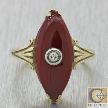 1920s Antique Art Deco Estate 14k Yellow Gold Carnelian Diamond Cocktail Ring J8