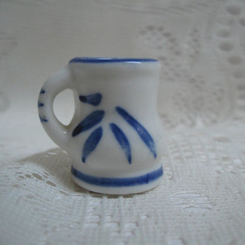 Miniature Pitcher Doll Size Blue and White Creamer / Pitcher / Mug