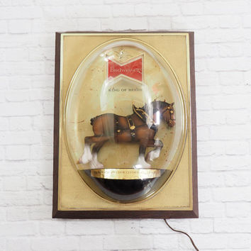 Vintage Budweiser Clydesdale Horse Lighted Beer Sign, Bar Light, Retro Man Cave Bar Sign Breweriana