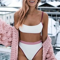 White high waist women swimsuit Co-ordinates bandeau high cut female swimsuit beach wear ladies bikini sets