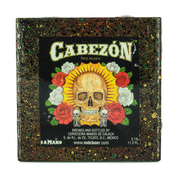 Handmade Coaster Cabezon craft beer label - Handmade Recycled Tile Coaster
