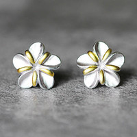 Two-Tone Flower Earrings, Sterling Silver Flower Stud Earrings, floral Earrings, plum blossom Studs Earrings, Flower Jewelry, gift for her