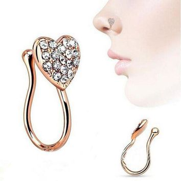 ac PEAPO2Q Women Fashion Glitter Rhinestone Heart Fake Non Piercing Clip-on Nose Ring Stud