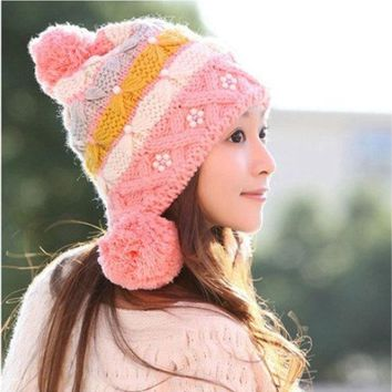 ESBU3C (1Piece) New women knitting hats earflap fashion pearl beanies for women Free shipping