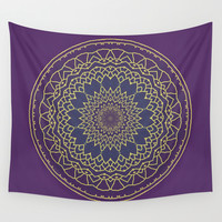 Mandala - purple and gold - 2 Wall Tapestry by Lena Photo Art