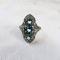 Art Deco Ring, Aquamarine Stones 2 CT, Sterling Silver Filigree Setting, Size 7, Art Deco Jewelry