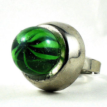 Statement Ring Upcycled Marble and Retro Button Lime Green Sci-Fi Inspired Jewelry
