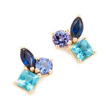 Cluster Earrings with Tanzanite, Blue Topaz & Sapphire