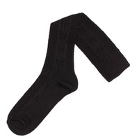 Acrylic & Spandex Cable Knit Knee Hi's Socks (Black)