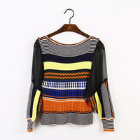 Indie Designs Chiffon See Through Sleeve Knit Sweater