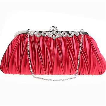 Women handbag Folds Elegant Satin Evening Bag Three-dimensional Bridal Wedding Party Bride Clutch Purse Chain Shoulder Clutch