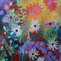 "Acrylic Painting Abstract Floral Contemporary ""Garden Jubilee"""