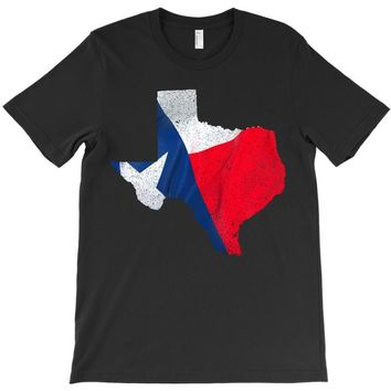 Eroded Texas Map With Flag T-Shirt