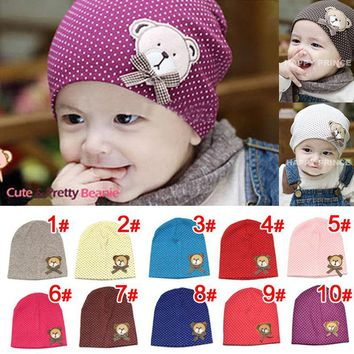Women Crochet Cute Bear & Bow Baby Cotton Hats 0918-96