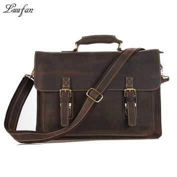 Men's Vintage crazy horse Leather briefcase Real leather Business bag Cow leather Laptop messenger bag work tote