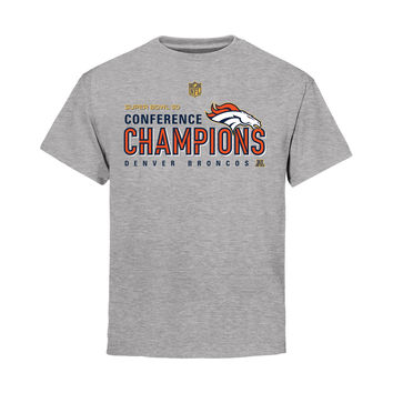 Youth Denver Broncos Heather Gray AFC Conference Champions Trophy Collection Locker Room T-Shirt