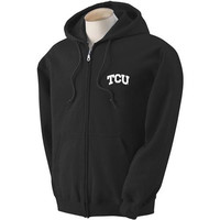 Texas Christian Horned Frogs NCAA Small Arch Solid Logo Black FullZip Hooded Fleece (Medium)