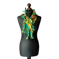 Felted collar felted necklace felted boa green turquoise yellow orange multicolor felt collar with felted brooch boho OOAK