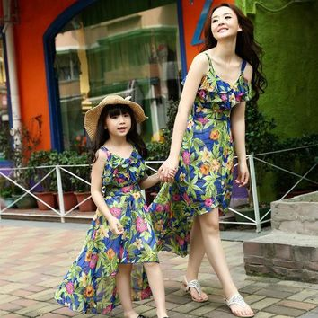 CREYL Mother daughter dresses family look floral print clothing bohemian beach dress irregular strap Vestido tropical roupas meninas