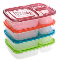 TFBC-3-compartment rectangle Plastic Lunch Box