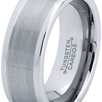 Jarde Tungsten Wedding Band for Men Pipe Cut Brushed Polished Comfort Fit - 8mm