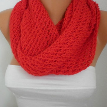 Red Scarf  Infinity Scarf Shawl Circle Scarf Loop Scarf Gift Baby Yarn - for her - fatwoman - chunky infinity scarf