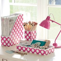 Preppy Paper Desk Accessories - Pink Dottie