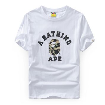 Bape Aape Summer Fashion New Letter Print Women Men Camouflage Top T-Shirt White