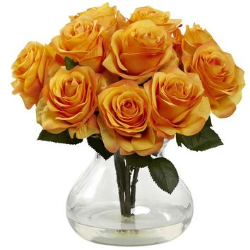 Silk Flowers -Orange Yellow Rose Arrangement With Vase Artificial Plant