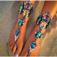 Glamorous Jeweled Barefoot Sandals