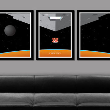 Star Wars A New Hope Inspired Minimalist Movie Poster Set Edition One - 13 X 19 Home Decor